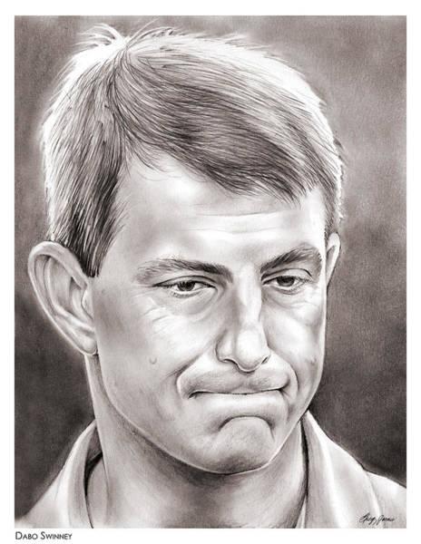 Football Drawing - Dabo Swinney by Greg Joens
