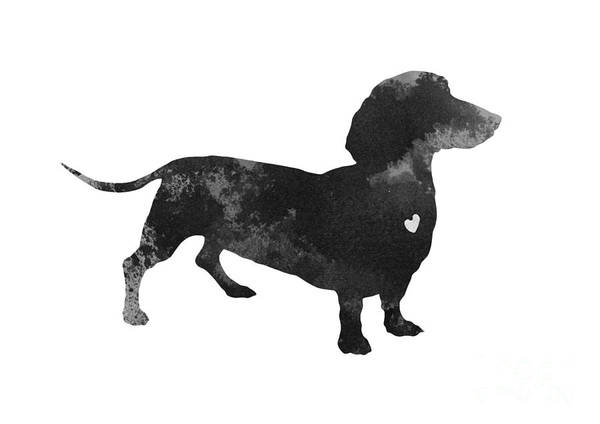 Dog Painting - Dachshund Watercolor Black Silhouette by Joanna Szmerdt