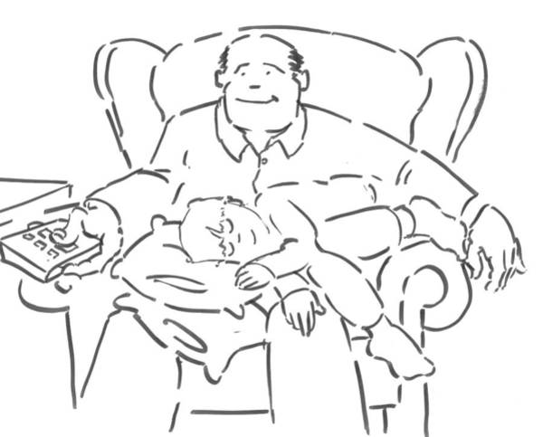 Drawing - Dad And Lad - Father And Son Watching Tv Cartoon by Mike Jory