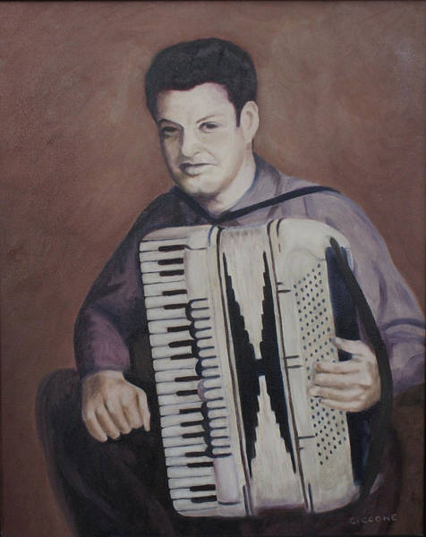 Daddy And His Accordion Art Print