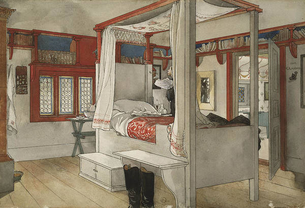 Painting - Daddy's Room. From A Home by Carl Larsson