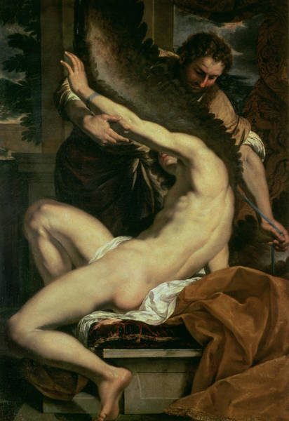 Naked Man Painting - Daedalus And Icarus by Charles Le Brun