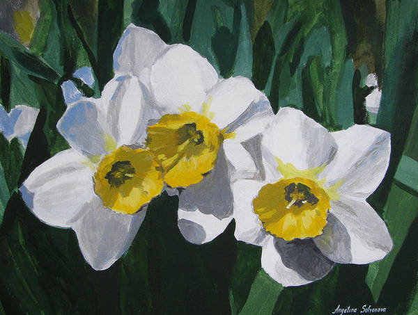 Acrilic Painting - Daffodils by Angelina Sofronova