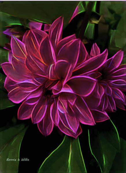 Digital Art - Dahlia Aglow by Bonnie Willis