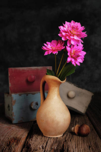 Floral Arrangement Photograph - Dahlias And Drawers by Tom Mc Nemar