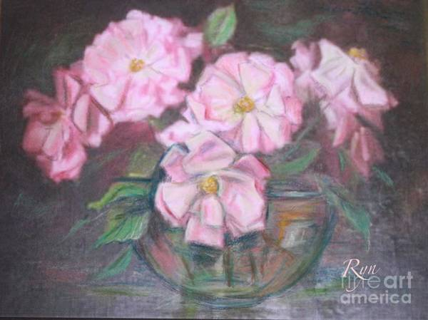 Painting - Dainty Pink Rose In Glass Bowl by Ryn Shell