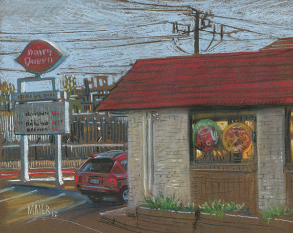 Drive Drawing - Dairy Queen by Donald Maier