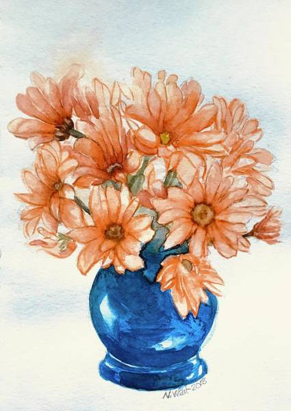 Painting - Daises In Blue Vase A by Nancy Wait