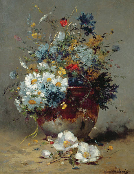 Vase Of Flowers Painting - Daisies And Cornflowers by Eugene Henri Cauchois