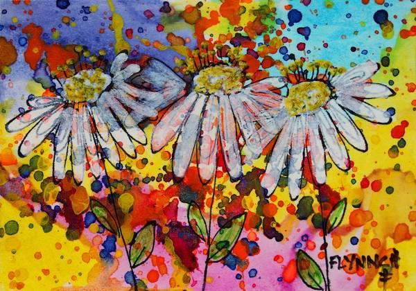 Atc Painting - Daisies by Lynn Chatman