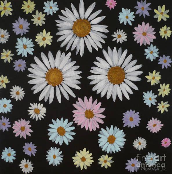 Painting - Daisies On Black by Monika Shepherdson