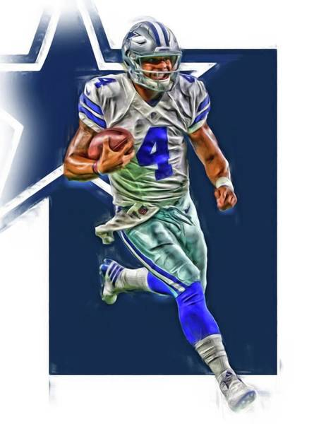 Super Bowl Mixed Media - Dak Prescott Dallas Cowboys Oil Art Series 3 by Joe Hamilton