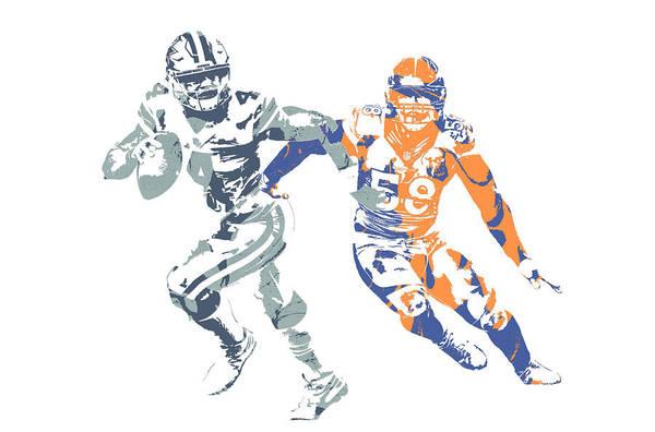 Wall Art - Mixed Media - Dak Prescott Von Miller Cowboys Broncos Pixel Art by Joe Hamilton