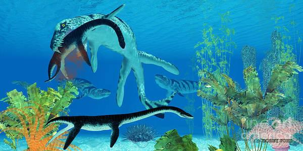 Primeval Painting - Dakosaurus Marine Reptile by Corey Ford