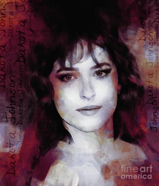 Dwayne Johnson Wall Art - Painting - Dakota Johnson Actress by Gull G