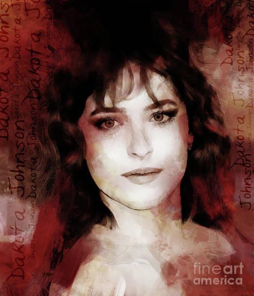Dwayne Johnson Wall Art - Painting - Dakota Johnson Hollywood Actress by Gull G