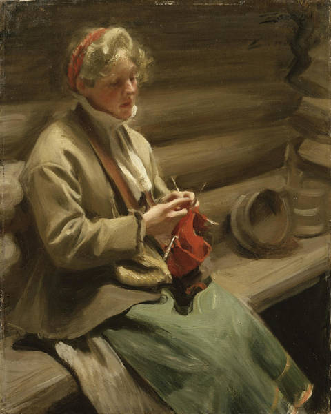 Cabbage White Painting - Dalecarlian Girl Knitting. Cabbage Margit by Anders Zorn