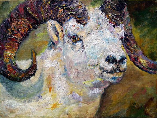 Painting - Dall Sheep Ram Oil Painting by Ginette Callaway