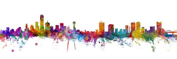 Wall Art - Digital Art - Dallas And Forth Worth Skyline Mashup by Michael Tompsett