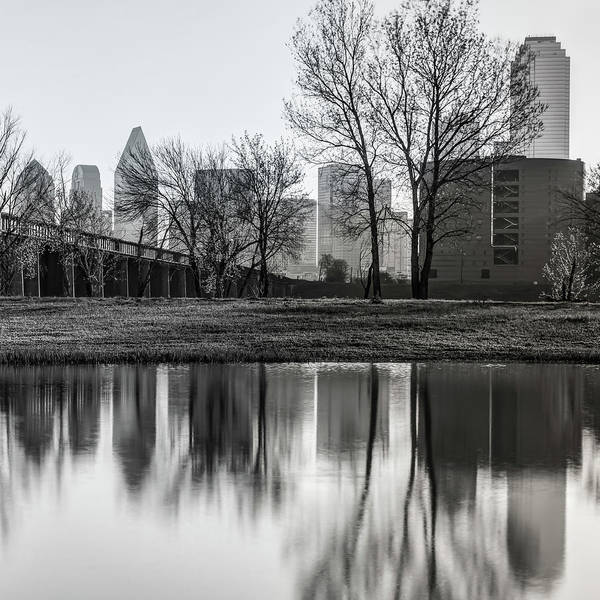 Photograph - Dallas Black And White Skyline Square Format Trinity Reflections by Gregory Ballos