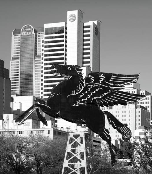 Photograph - Dallas Pegasus Monochrome 32318 by Rospotte Photography