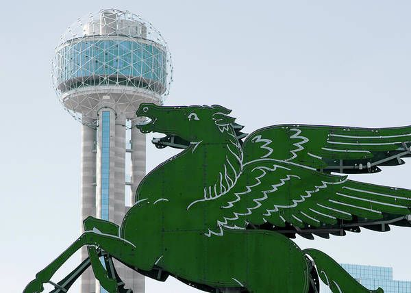 Photograph - Dallas Pegasus Reunion Tower Green 030518 by Rospotte Photography