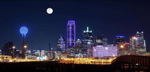 Photograph - Dallas Purple Skyline Moon 020218 by Rospotte Photography