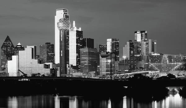 Photograph - Dallas B W Skyline 05818 by Rospotte Photography