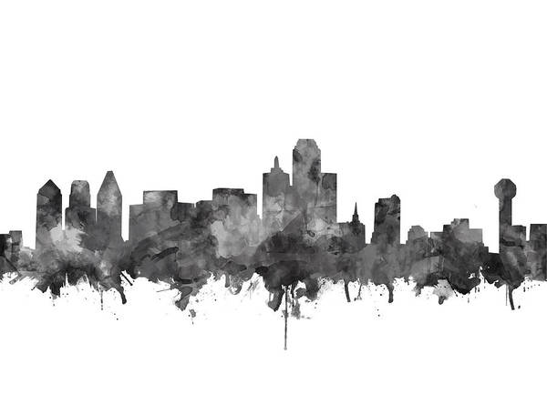 Monochromatic Painting - Dallas Skyline Black And White by Bekim Art