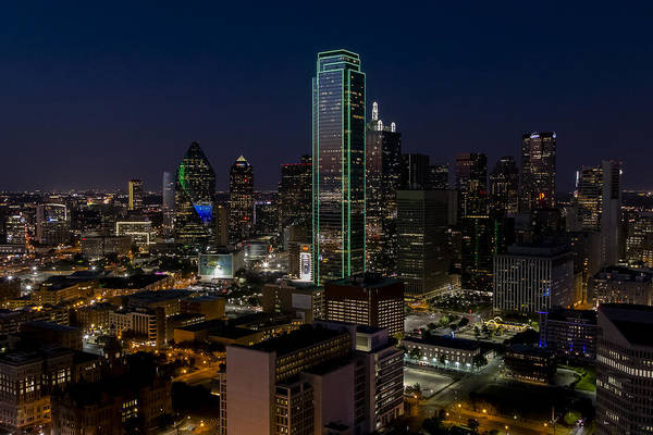Photograph - Dallas Skyline Evening Glow by Andy Myatt