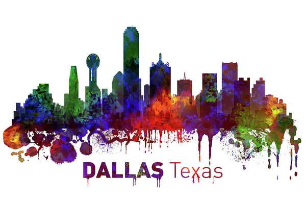 Wall Art - Mixed Media - Dallas Texas Skyline by Kevin O'Hare