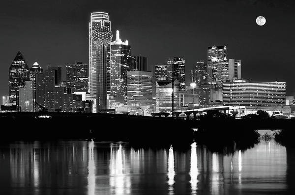 Photograph - Dallas Skyline Moon Bw 032418 by Rospotte Photography
