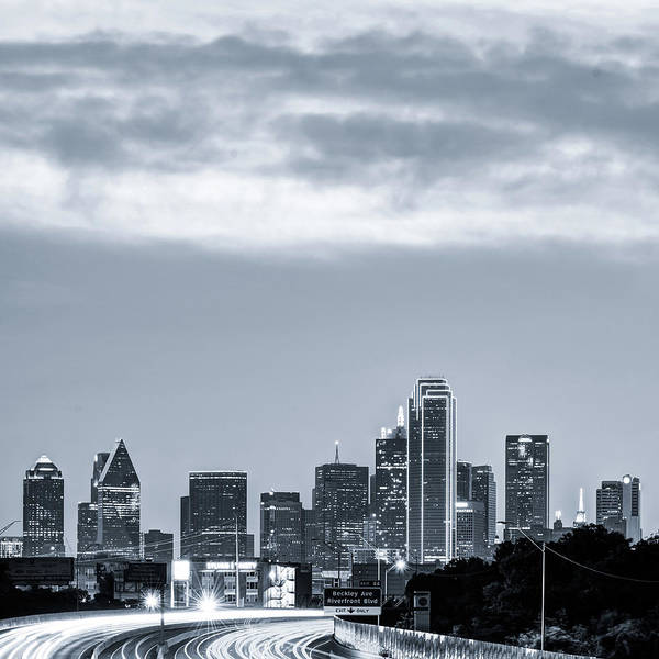 Photograph - Dallas Skyline Morning Black And White - Square 1x1 Format by Gregory Ballos