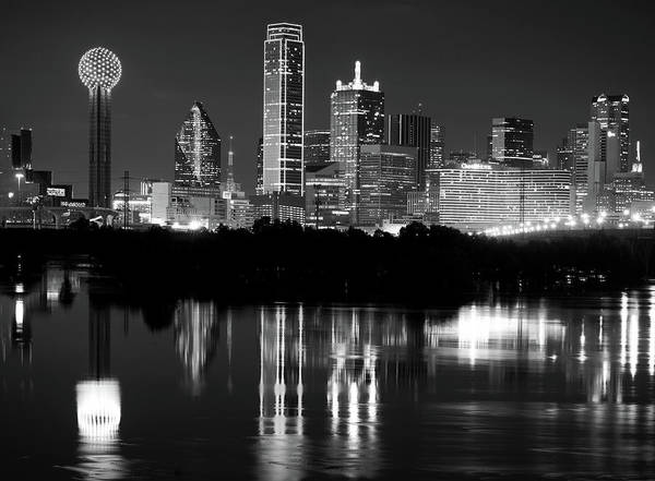 Photograph - Dallas Skyline Reflection Bw 11916 by Rospotte Photography