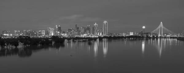 Dallas Skyline Trinity Black And White Art Print
