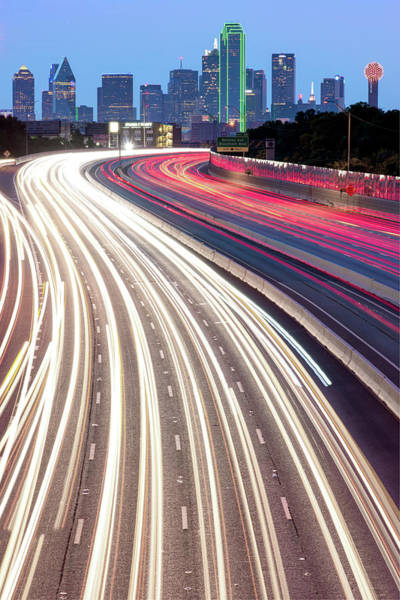 Photograph - Dallas Skyline With Light Trails by Gregory Ballos