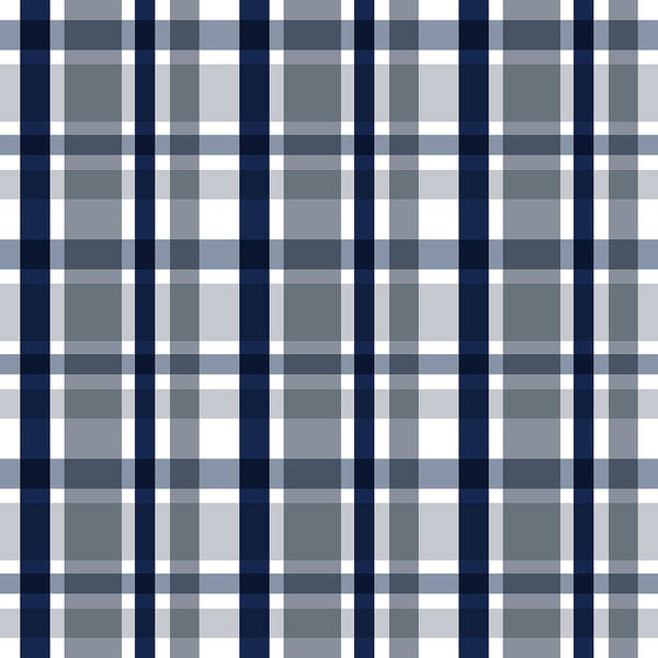 Photograph - Dallas Sports Fan Silver Navy Blue Plaid Striped by Shelley Neff