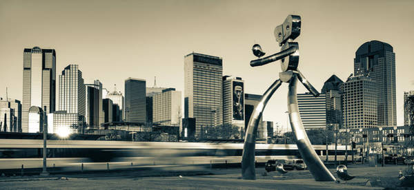 Photograph - Dallas Texas Sepia Skyline And Traveling Man by Gregory Ballos
