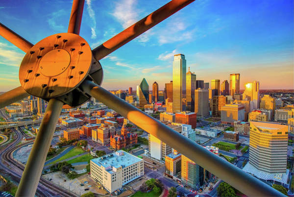 Photograph - Dallas Texas Skyline At Sunset  by Gregory Ballos