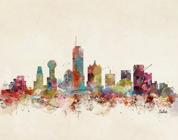 Texas Digital Art - Dallas Texas Skyline by Bri Buckley