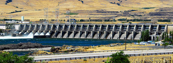 Thompson River Photograph - Dalles Dam Pano Color by David Lee Thompson