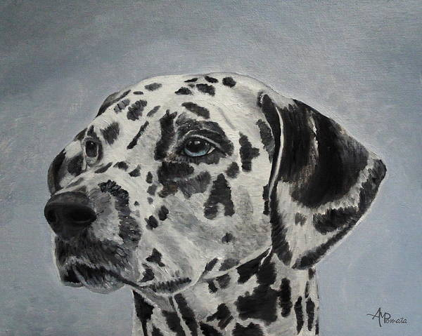 Painting - Dalmatian Portrait by Angeles M Pomata