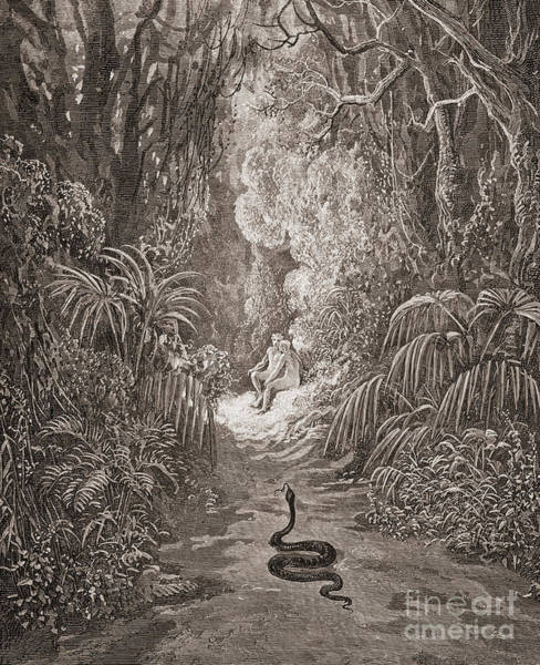 Satan Drawing - Adam And Eve   Illustration From Paradise Lost By John Milton by Gustave Dore
