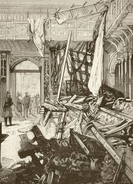 Explosion Drawing - Damage In The House Of Commons, London by Vintage Design Pics