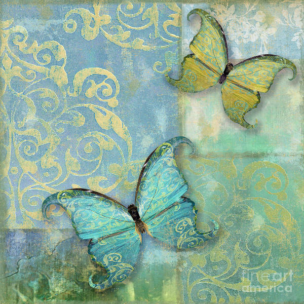 Wall Art - Painting - Damask And Butterflies I by Mindy Sommers