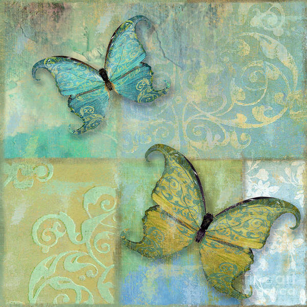 Wall Art - Painting - Damask And Butterflies II by Mindy Sommers