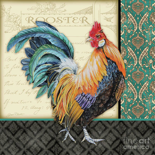 Wall Art - Painting - Damask Rooster-a by Jean Plout