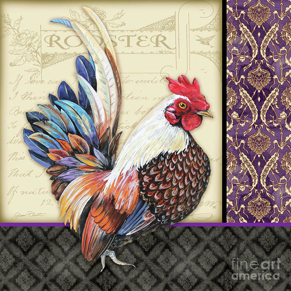 Wall Art - Painting - Damask Rooster-c by Jean Plout