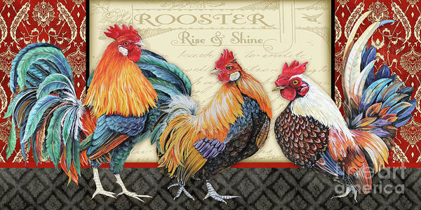 Wall Art - Painting - Damask Rooster-e by Jean Plout