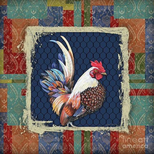 Wall Art - Painting - Damask Rooster-o by Jean Plout